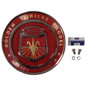 Golden Front Nose Hood Medallion Emblem For Ford Tractor Naa Jubilee Naa16600a