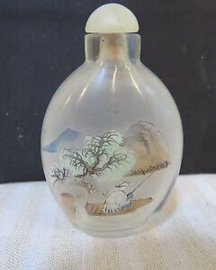 Antique Reverse Painted Artist Signed Glass Snuff Bottle With Top