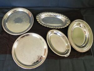 Vintage Lot Of 5 Silver Platters Oneida Wm Rogers International Silver Comp