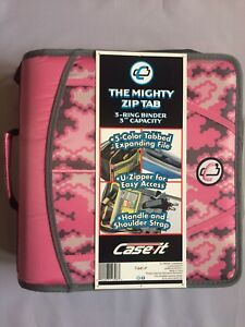 Case it Mighty Zip Tab 3 Zipper Binder 3 O Rings 5 Color Expanding File New