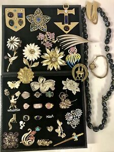 Vintage Estate Jewelry Lot 1960 s Brooches Rings Pins Necklace Bulova Gold Watch