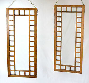 Pair Antique Oak Framed Beveled Glass Windows Hanging Room Dividers Not Leaded