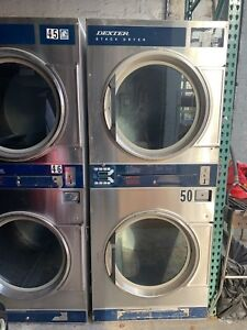 Commercial Dryer 30lb Dexter Gas Double Pocket Stainless Steel Coin Operated