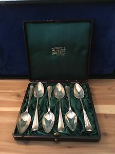 English London Henry E Peck Antique Sterling Silver Dessert Tea Spoons In Box