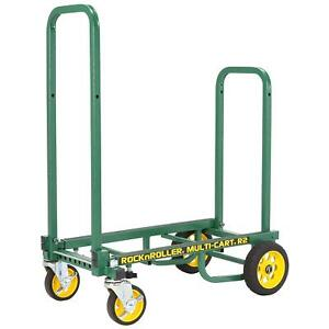 Green Folding Hand Truck 350lb Telescoping Platform Dolly Cart Moving Hauling
