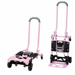 Pink Folding Hand Truck 300lb Dolly 4 Wheel Platform Steel Cart Moving Hauling