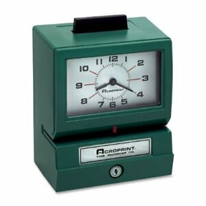 Acroprint 125nr4 Manual Print Time Recorder Card Punch stamp acp011070411