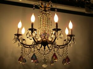 Aurora Borealis Vintage Brass Chandeliers 8arm 8 Light10 9 Spear Crystals Rare