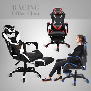 Computer Gaming Chair Ergonomic Recliner Adjustable Desk Seat Leather Office