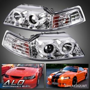 For 99 04 Ford Mustang Halo Led Projector Headlights Lamps Chrome Amber Lh Rh