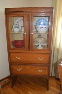 Art Deco Wooden China Cupboard Cabinet Hutch Curio Display Vintage Dining Room