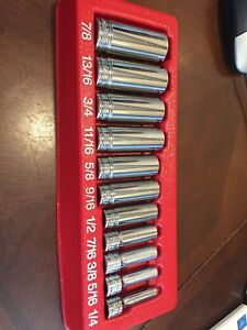 Snap On Tools Deep Long Chrome Socket Set Sae Standard 3 8 Flank Drive 211sfsy 6