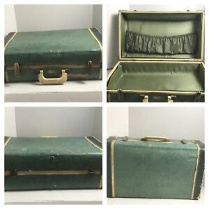 Vintage 40 S Cardboard Suit Case Green Suitcase Shabby Chic Home Decor 21