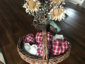 New Homespun Plaid Ornies Bowl Fillers Primitive Hearts Red Tan Valentine S Day