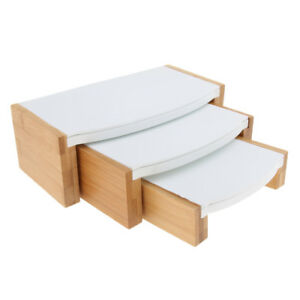 Wood Jewelry Tray Necklace Ring Display Stand Rack Holder White Leather