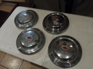 1966 66 Chevy Impala Belair Biscayne Dog Dish Hub Caps Set Of 4 Red Bowtie Gm