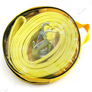 4 5m Car Tow Rope Pull Towing Strap Hooks Heavy Duty 5 Tons Van Road Recovery
