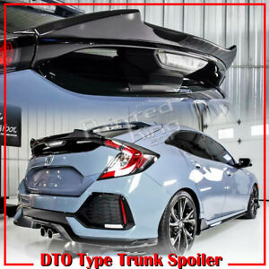 Stock In Us Unpainted For Honda Civic X 10th Hatchback Dto V Look Trunk Spoiler