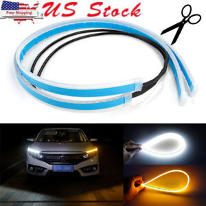 60cm Led Headlight Slim Strip Light Daytime Running Sequential Flow Turn Signal