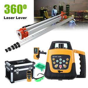 Self leveling Rotary Green Laser Level W Receiver Remote Control Tripod Staff