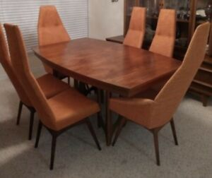 Mcm Adrian Pearsall Tall Back Chairs Orange With A Brazilian Dining Table Retro