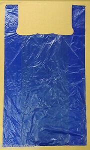 400 18x7x32 Jumbo 32 Large Blue Retail High Density Plastic T shirt Bags