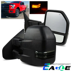 For 2015 2018 Ford F150 W 8 Pin Power Heated Led Signal Smoke Towing Mirrors