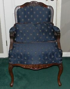 Vintage Flexsteel Charisma Upholstered Blue Fancy Accent Arm Chair W Pillow