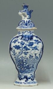 Very Good Antique Tinglazed 18th C Dutch Covered Delft Vase Porcelain Claw