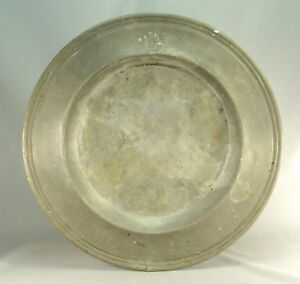 Antique Early C 1690 1710 Pewter Charger 16 75 English Mark Rare