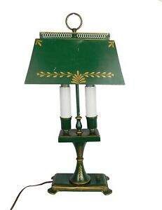 Vintage French Empire Bouillotte Green Tole Painted Antique Lamp
