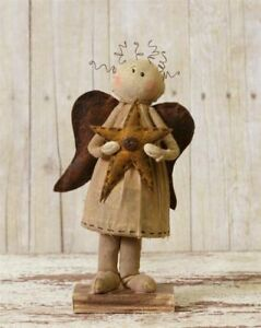 New Primitive Country Standing Angel Holding A Star Farmhouse Decor Rustic
