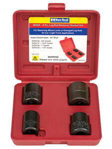 Ken tool 30254 4pc Lug Nut Remover Impact Socket Set