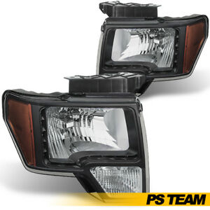 Black 2009 2014 Ford F150 Headlights W Led Daytime Running Lights Left Right