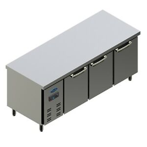 Pantin 71 Commercial 3 Door Undercounter Prep Work Table Refrigerator Cooler