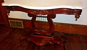 Gorgeous Vintage Mahogany Marble Top Sofa Hall Table Console Lyre Harp Base