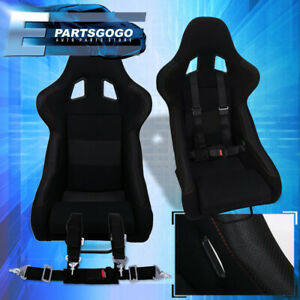 Black Cloth Racing Bucket Seats W Red Stitching 2x 4pt Racing Seat Belt Set