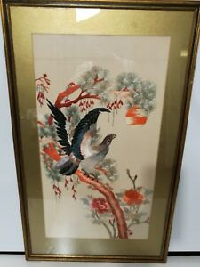 Vintage Silk Hand Woven Embroidery 20th H 30 X W 18 1 4