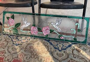 Stained Glass Vintage Victorian Window Panel Hummingbirds Pink Roses 43 X 12
