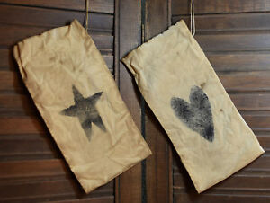 Primitive Stenciled Set Of 2 Ditty Seed Bags With Drawstrings Star Heart
