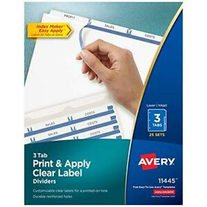 Avery 3 tab Binder Dividers Easy Print Apply Clear Label Strip Index Maker