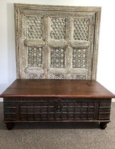 Antique Indian Wedding Chest Coffee Table Trunk Ottoman Furniture
