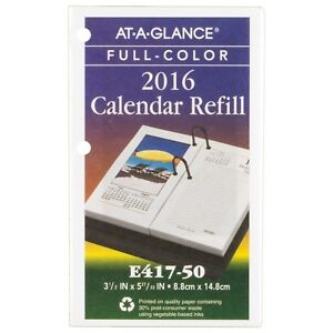 At a glance Daily Desk Calendar 2016 Refill Photographic 12 Months 3 5 New