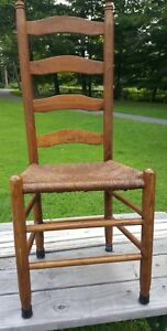 Antique Shaker Style Ladder Back Dining Chairs Rush Woven Seat 6