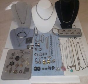 Sterling Silver Jewelry Lot Re Sell No Scrap 435 Grams Vintage Semi Precios