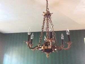 Vintage 1920 S French Empire Chandelier Black Tole W Bronze 6 Arms Lights