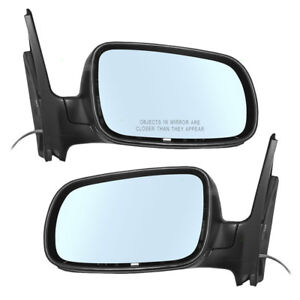 New Pair Set Manual Remote Side View Mirror W Blue Tinted Glass Vw Golf Jetta