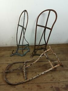 3 Wrought Iron Antique Saddle Stable Barn Hooks Coats Architectural Old Metal