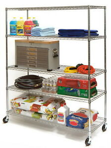 Large 5 Tier Steel Shelving Storage Rack 60 X 24 X 72 Metal Shelves