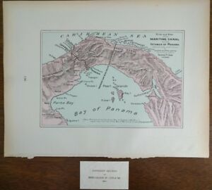 Vintage 1902 Dated Panama Canal Birds Eye View Map 14 X11 Old Antique Mapz